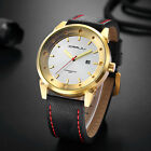 Crrju Fashion Luxury watches men's business casual Date Leather Quartz Watches