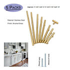 """5 Pack Gold T Bar Stainless Steel Cabinet Door Handles Drawer Pulls Knobs 2""""-13"""