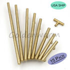 """15 Pack Gold T Bar Stainless Steel Cabinet Door Handles Drawer Pulls Knobs 3""""-10"""