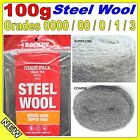Rocket Steel Wool - 100 gram Trade Pack - Grades; 0000, 00, 0, 1 and 3 polishing