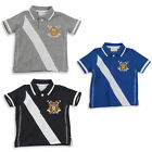Boys Polo T-shirt Short Sleeved Top 2-3Y To 13Y Three Colours To Choose From