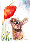 Original Watercolour Rabbit and Poppy Print by Artist Be Coventry wildlife art