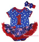 Queen Day Birthday 1ST Star Bodysuit Blue Union Jack UK Flag Baby Dress NB-18M