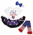 Miss Independent 4th July White Bodysuit USA Flag Baby Dress Leg Warmer NB-18M
