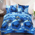 Rose Duvet Doona Quilt Cover Set Queen King Size Floral Bed Pillowcase New Blue