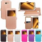 Luxury Flip Rhombus Printing View Window Leather Case Skin Cover For Samsung