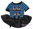 4th July America Flag LOVE Blue Striped Cotton Top Black Pet Dog Puppy Cat Dress