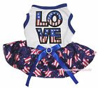 4th July America Flag LOVE White Top Pink White Star Pet Dog Puppy Cat Dress Bow