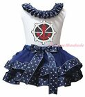 Anchor Ship Wheel White Top Navy Blue Sailor Satin Trim Skirt Girls Outfit NB-8Y
