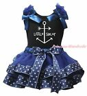 Black Cotton Top Navy Blue Little Sailor Satin Trim Skirt Girls Outfit Set NB-8Y