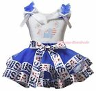 Rhinestone US Flag Heart 4th July White Top Blue USA Flag Satin Trim Skirt NB-8Y