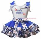 Little Sparkler 4th July White Top Blue USA Flag Satin Trim Skirt Girl Set NB-8Y