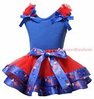 Plain 4th July Blue Top Red USA Hat Balloon Mustache Satin Trim Skirt Girl NB-8Y