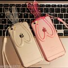 For iPhone5 5S 6 6plus Rabbit ear removeable  stand transparent Cover Case Skin