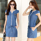 Fashion Korea style Short Sleeve Denim V collar slim bungee mini Dress