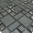 Nero Mix Glass Squares Mosaic Tiles Sheet For Walls And Floors Splash back
