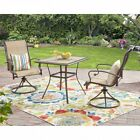 Patio Bistro Set 3 Piece Swivel Chairs Dining Outdoor Table Balcony Furniture