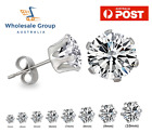 2pc Brilliant Round Diamond Stainless Steel Earring Simulated Stud Mens Womens