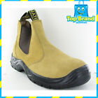 CHEAP SAFETY WORK BOOTS REAL SUEDE LEATHER STEEL CAP WORK BOOTS slip on