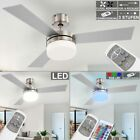 LED Fan RGB Remote Control Fan Living Room Cooler Ceiling Lamp dimmable modern