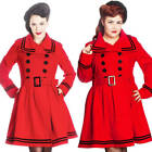 Hell Bunny Retro Rockabilly Pin Up Millie Coat Red Winter Ladies Vintage