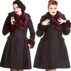 Hell Bunny Gothic Rockabilly Rock Noir Coat Black Red  Faux Fur Trim