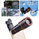 US Clip-on 12X Optical Zoom HD Telescope Camera Lens Universal For Apple iPhone