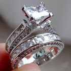Women fashion jewelry 925 silver white sapphire wedding ring set size 5-11