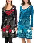 Desigual Elba Jersey Dress S-XXL 10-18 RRP£74 Sequin Heart Flared