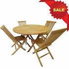 KYOTO TEAK WOOD 4FT 120cm ROUND FOLDING DINING INDOOR / OUTDOOR TABLE + CHAIR