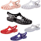 NEW WOMENS LADIES JELLY SUMMER FLAT FLIP FLOP THONG SANDALS BEACH SHOES SIZE 3-8