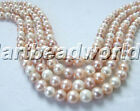 "Multi-Color 8 9 10mm near round white pink purple freshwater pearl bead 17""clasp"