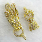 SF00013  24k Gold plated Cubic Zircon micro Dragon head Clasps