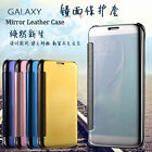 For Samsung Galaxy J3 J5 On/J7 Window View Mirror Smart Case Flip Leather Cover