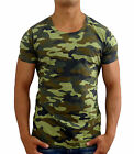 NEW MENS PLAIN CAMO CREW NECK T SHIRT ARMY SLIM FIT MILITARY GYM MUSCLE FASHION