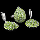 CHARMING NATURAL TOP CLASS APPLE GREEN PERIDOT STERLING 925 SILVER JEWELRY SET
