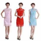 Внешний вид - Fashion Women's Retro Short Sleeves Lace Cheongsam Dress Elegant Ladies Qipao