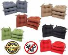 Chair Cushion Pads Outdoor Indoor Patio Seat With Ties Set of 4 Multiple Colors