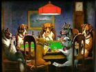 00855 DOGS PLAYING CARDS ART IMAGE POSTER Print