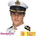 Mens White Sea Sailor Boating Yacht Nautica Captain Cap Navy Skipper Costume Hat