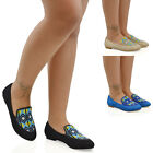 Womens Slip On Flat Pumps Aztec Embroidered Beaded Ladies Loafers Shoes Size 3-8