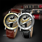 Men's Grant Automatic Skeleton Dial Stainless Steel Leather Watch Black & Brown image