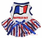 Bastille Day France Flag White Top RWB Striped Skirt Pet Dog Puppy Cat Dress Bow