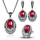 Jewellery Set Oval Red Jewelry Nacklace Earring and Ring Set Women Engagement