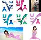 Kids Girls Swimmable Mermaid tails With Mono Fin Swimming Costumes Swimwear Set