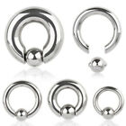 316L Surgical Steel Captive Bead Ring with Spring Dimple Ball