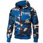 Athletic V Nylon Hooded Windbreaker Jacket Blue Camo Pit Bull West Coast