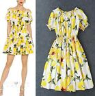 Lemon printing womens floral summer beach off shoulder dress short elastic waist