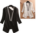 Women Slim suits v neck half sleeves short grenadine cardigan Nail bead coat