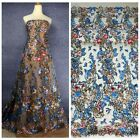 "51"" mixed colors sequins polyster embroiderey evening dress lace fabric by yard"